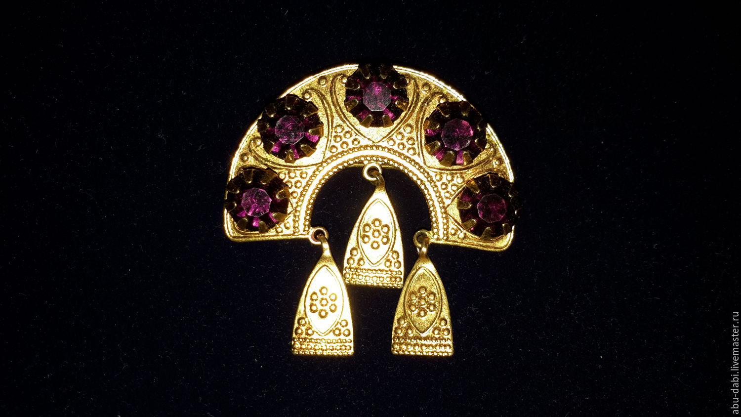 Brooch AMETHYST gold 750 on Nickel silver:brand of the USSR, 1960, Vintage brooches, Moscow,  Фото №1