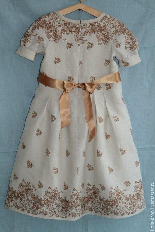 Платье летнее детское. Купонный лен.