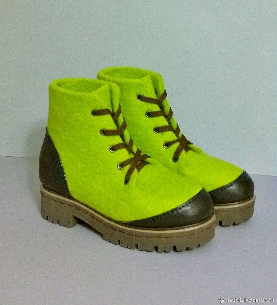 8bbff0683 Обувь ручной работы. Ярмарка Мастеров - ручная работа. Купить Валяные  ботинки 'Лайм' ...