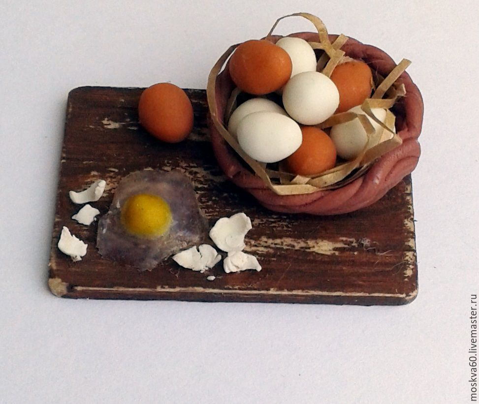 Food for dolls - Board with eggs for dollhouse miniature 1 12, Doll food, Moscow,  Фото №1