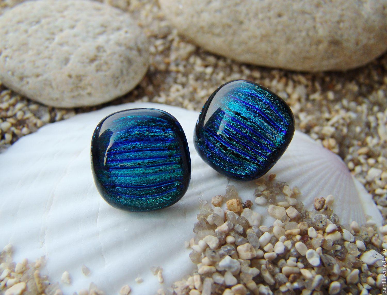 earrings Pusey of dichroic glass Magic, Stud earrings, Khabarovsk,  Фото №1