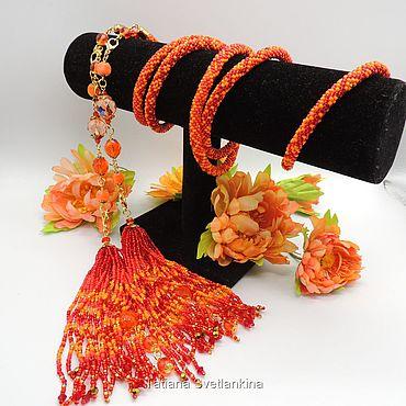 Decorations handmade. Livemaster - original item Lariat Orange. Handmade.