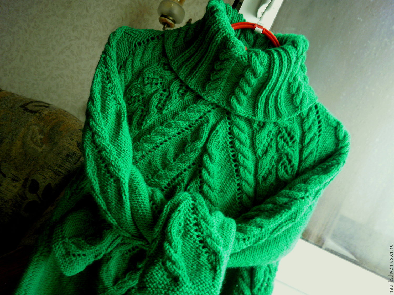 Sweater women knitted Stephanie green Merino, Sweaters, Krivoy Rog,  Фото №1