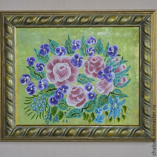 """Картины цветов ручной работы. Ярмарка Мастеров - ручная работа. Купить Панно """"Букет"""". Handmade. Разноцветный, картина в подарок"""