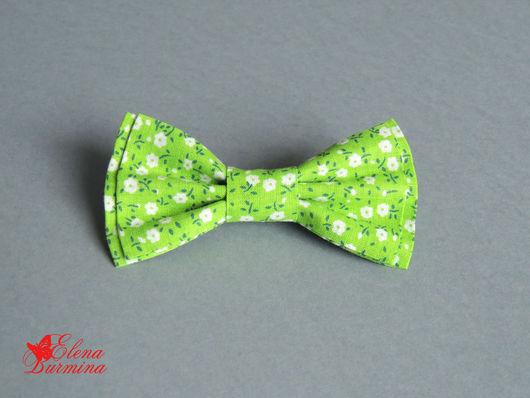 Галстуки, бабочки ручной работы. Ярмарка Мастеров - ручная работа. Купить Бабочка галстук зеленая в цветочек. Handmade. Зеленый, цветочный