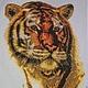 Животные ручной работы. Ярмарка Мастеров - ручная работа. Купить Тигр.  Вышитая картина. Handmade. Рыжий, животные