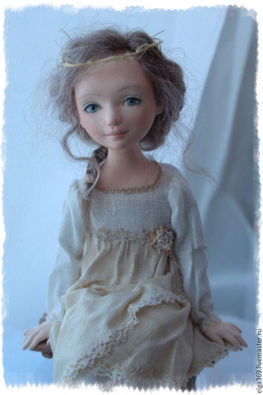Коллекционные куклы ручной работы. Ярмарка Мастеров - ручная работа. Купить Авторская кукла ангел Ангелёнушка: Размышления.... Handmade. Ангел