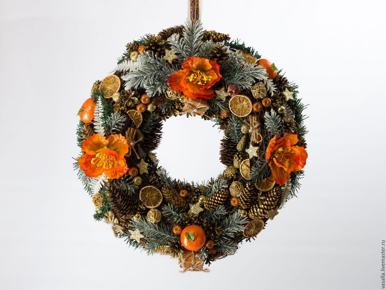 Interior Christmas wreath 'Golden Mandarin', Gifts, Moscow, Фото №1