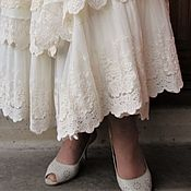 Одежда handmade. Livemaster - original item Skirt champagne color from Maliki with natural lace. Handmade.