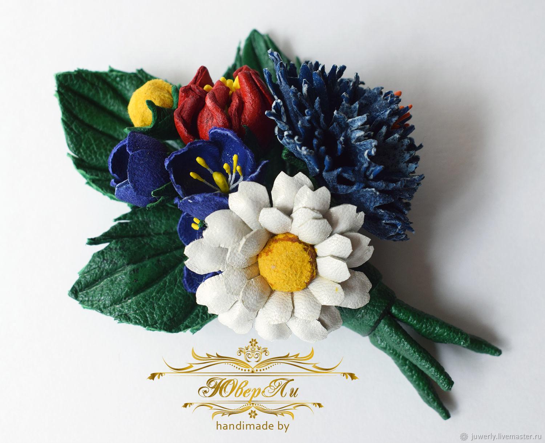 Summer Flowers Bouquet Of Leather Daisy Cornflower Brooch