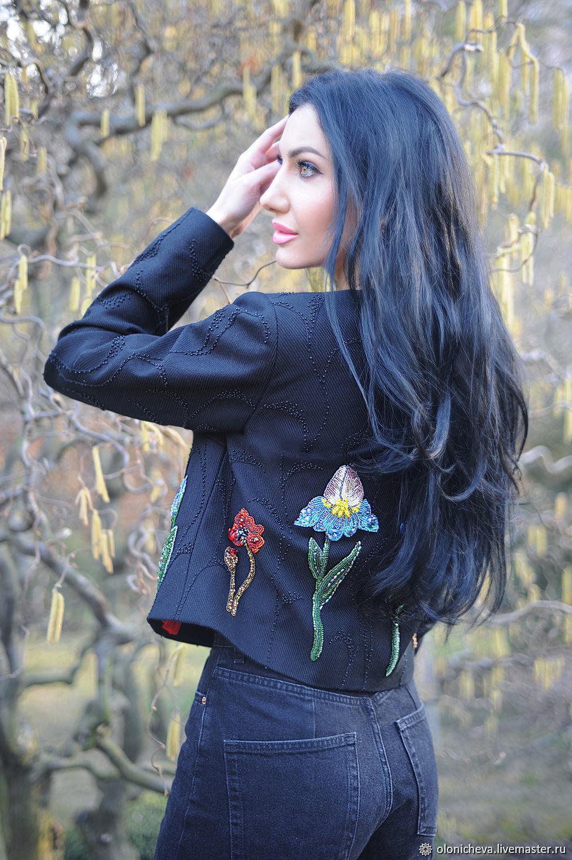 Black embroidered jacket ' Poppies, irises, tulips', Suit Jackets, Vinnitsa,  Фото №1