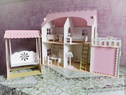 """Кукольный дом ручной работы. Ярмарка Мастеров - ручная работа. Купить комплект """"Весна в кукольном доме"""" (кукольный дом, качель, мебель). Handmade."""