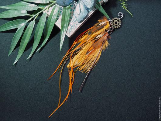 Шпилька с перьями для пучка с натуральными перьями для волос, предадут вашему образу интригующую изюминку и сделают его незабываемым! Получаются перья в волосы, перья смотрятся очень красиво, необычно