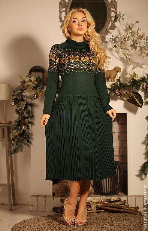 """Платья ручной работы. Ярмарка Мастеров - ручная работа. Купить Платье """"Скандинавия"""". Handmade. Тёмно-зелёный, вязаное платье"""