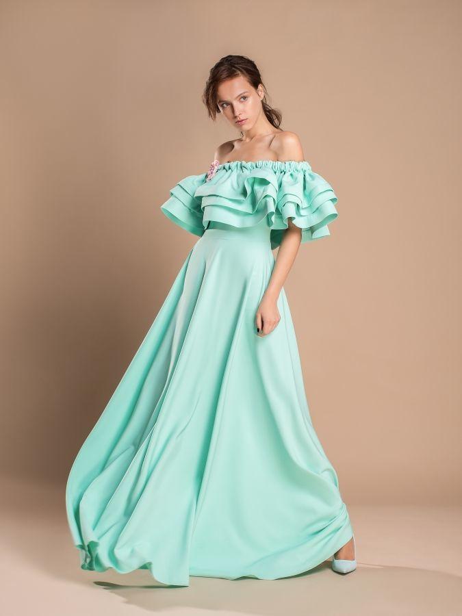 Платья с воланами длинные фото