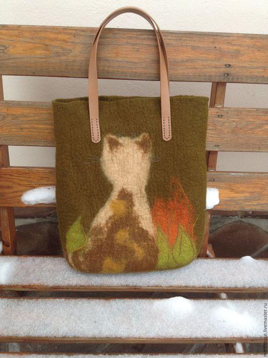 Женские сумки ручной работы. Ярмарка Мастеров - ручная работа. Купить Сумка тоут СОЗЕРЦАНИЕ, валяная, войлочная, сумка на руку. Handmade.