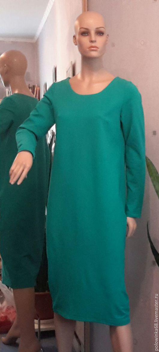 Платья ручной работы. Ярмарка Мастеров - ручная работа. Купить Платье из футера трикотажа. Handmade. Зеленый, повседневное платье
