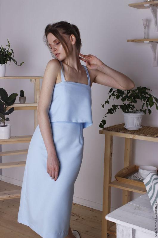 Платья ручной работы. Ярмарка Мастеров - ручная работа. Купить Платье. Handmade. Голубой, платье по колено, спортивный стиль