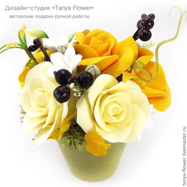 Композиция из цветов в горшке 40