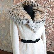 handmade. Livemaster - original item White mink fur coat with a hood