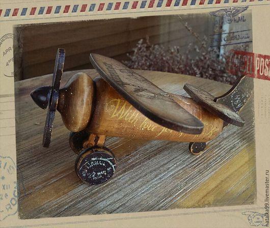 """Детская ручной работы. Ярмарка Мастеров - ручная работа. Купить """" Почтовый самолётик """" Интерьерная игрушка. Handmade. Коричневый"""