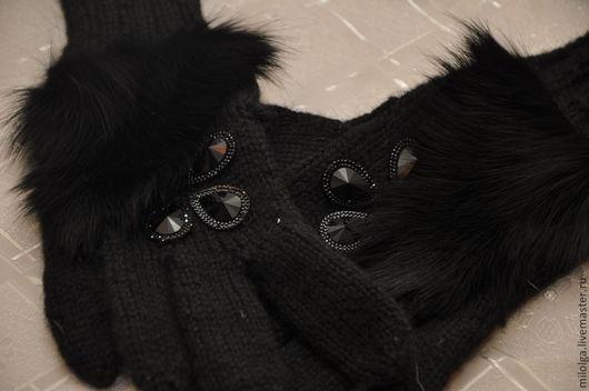 Варежки, митенки, перчатки ручной работы. Ярмарка Мастеров - ручная работа. Купить Перчатки вязаные с мехом. Handmade. Черный, мех