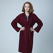 Одежда handmade. Livemaster - original item Coat straight jacket oversized Burgundy classics for spring. Handmade.