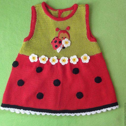 """Для новорожденных, ручной работы. Ярмарка Мастеров - ручная работа. Купить Вязаное платье для девочки """" Божья Коровка"""". Handmade."""