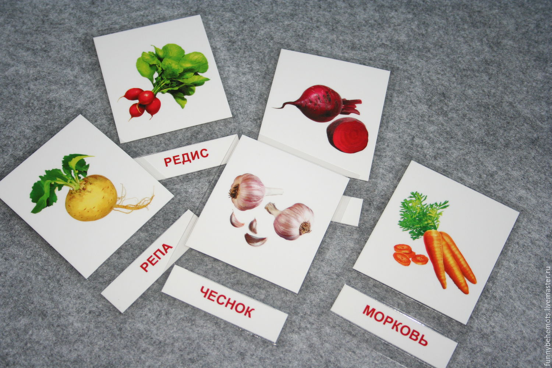 Развивающие карточки. Овощи. Интуитивное чтение. Методика Монтессори, Карточные игры, Москва,  Фото №1