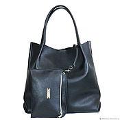 Сумки и аксессуары handmade. Livemaster - original item Shopper Bag Leather Black Bag Tote Bag Bag with Cosmetic Bag. Handmade.