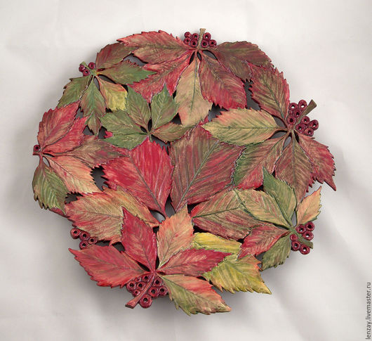 Большое блюдо `Дикий виноград осенью`. Ажурная керамика и керамические цветы Елены Зайченко