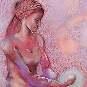 Картины и панно handmade. Livemaster - original item The fire, which kept the Painting with pastels (purple, terracotta). Handmade.