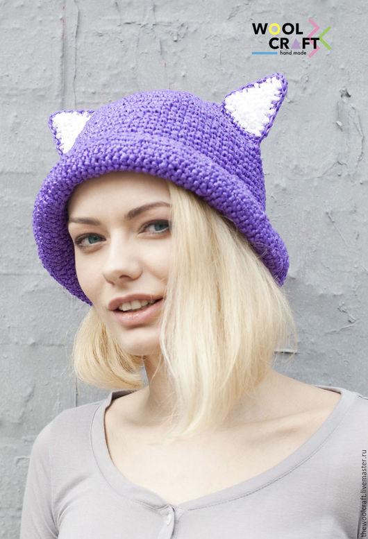 Шляпы ручной работы. Ярмарка Мастеров - ручная работа. Купить Фиолетовая летняя шляпа с ушками. Handmade. Фиолетовый, шляпа с ушками