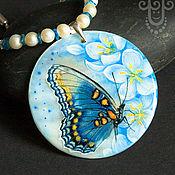 """Украшения ручной работы. Ярмарка Мастеров - ручная работа Кулон """"Бабочка-весна"""" - миниатюра на камне. Handmade."""