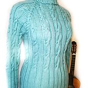 Одежда handmade. Livemaster - original item Mint-silver turtleneck. Handmade.
