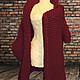 Верхняя одежда ручной работы. Rubino, бордовое пальто-кардиган крупной вязки. WasezUlwini. Интернет-магазин Ярмарка Мастеров.