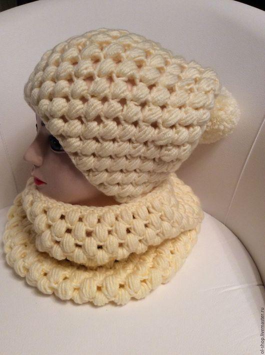 Шапки ручной работы. Ярмарка Мастеров - ручная работа. Купить Комплект шапка и снуд. Handmade. Белый, шапка вязаная