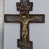 Винтаж handmade. Livemaster - original item Cross crucifixion of Christ copper cast stone 18th century state!. Handmade.