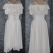 Одежда ручной работы. Ярмарка Мастеров - ручная работа Белое бохо платье с поясом корсетиком. Handmade.