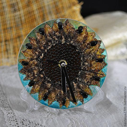Часы для дома ручной работы. Ярмарка Мастеров - ручная работа. Купить Часы Подсолнух. Handmade. Оранжевый, подсолнухи, солнышко