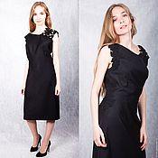 Одежда handmade. Livemaster - original item Black wool dress with lace. Handmade.