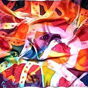Аксессуары handmade. Livemaster - original item Batik satin handkerchief Vivid emotions silk scarf. Handmade.