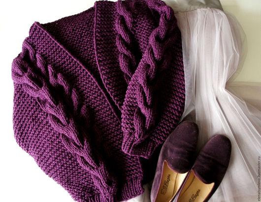 Кофты и свитера ручной работы. Ярмарка Мастеров - ручная работа. Купить Кардиган-оверсайз из толстой шерстяной пряжи. Handmade. Однотонный