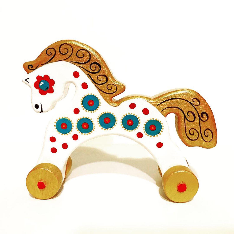 Деревянная игрушка на колёсиках Лошадка, Мягкие игрушки, Москва,  Фото №1