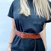 Аксессуары handmade. Livemaster - original item Women`s belt, genuine leather, 4,5 cm wide. Handmade.