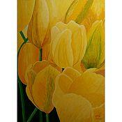 """Картины ручной работы. Ярмарка Мастеров - ручная работа Картина """"Желтые тюльпаны"""". Handmade."""