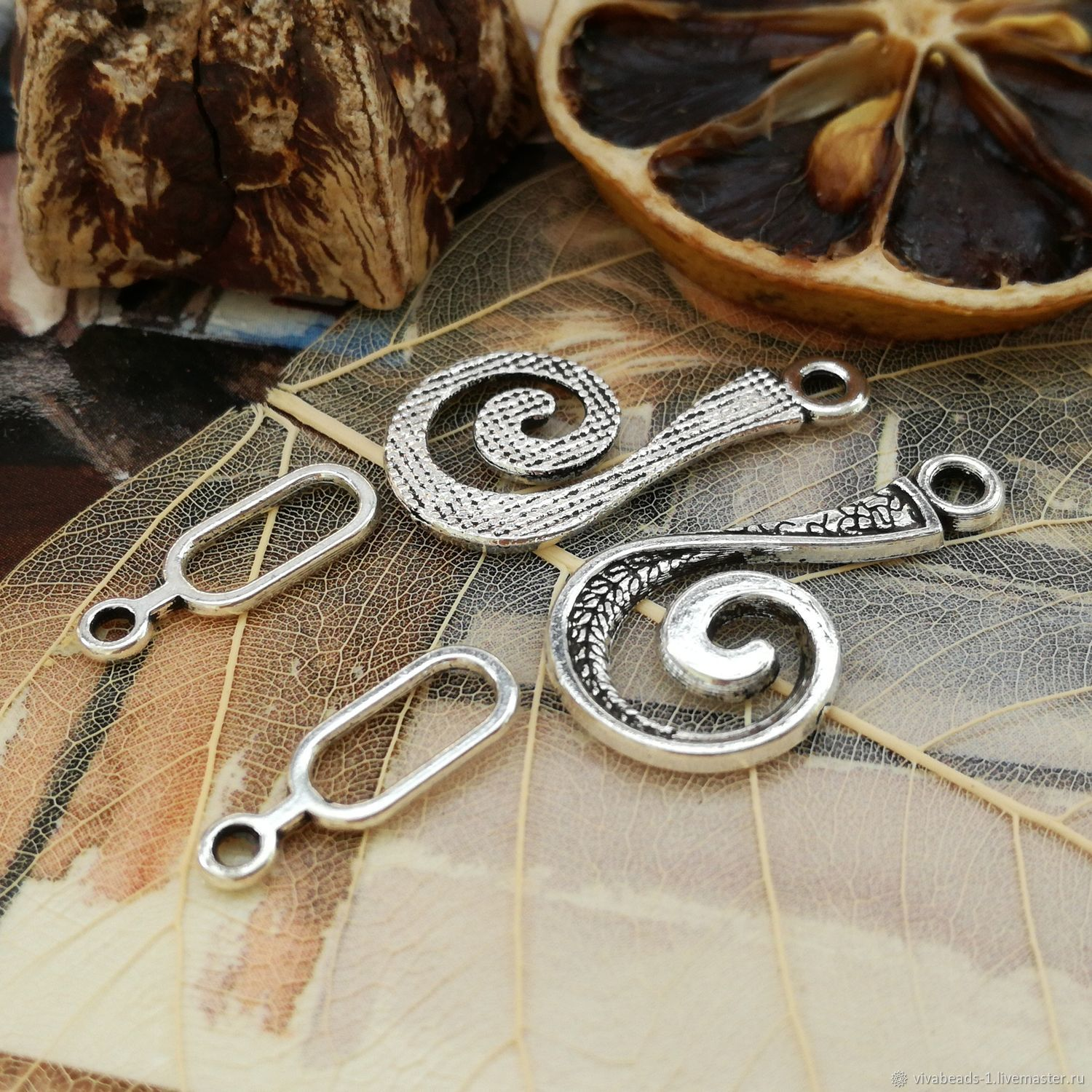 The lock hook 26h4 mm, 16h6 mm ant. silver (art. 3271), Accessories for jewelry, Voronezh,  Фото №1