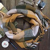 Аксессуары ручной работы. Ярмарка Мастеров - ручная работа Шарф тканый шарф палантин в горчичную клетку теплый. Handmade.