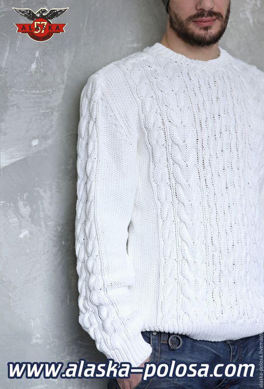 Для мужчин, ручной работы. Ярмарка Мастеров - ручная работа. Купить Индиго свитер тяжелый трикотаж натуральный индиго. Handmade.