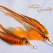 Украшения handmade. Livemaster - original item Orange feather earrings. Handmade.